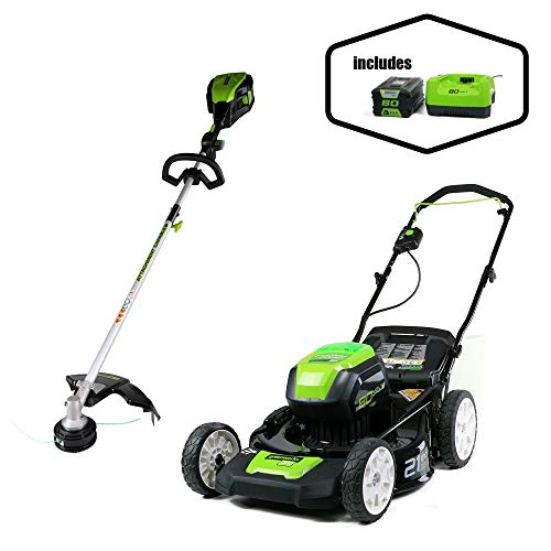 Best Review Of Greenworks PRO 21-Inch 80V Cordless Lawn Mower with 16-Inch PRO 80V Cordless String T...