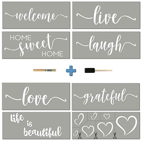 Stencils For Painting on Wood   Cursive Script Sayings, Word Paint Stencils: WELCOME LOVE GRATEFUL etc+ Mandala Hearts   16 pcs Essential Inspirational Stenciling Kit   Rustic Farmhouse DIY Home Dcor