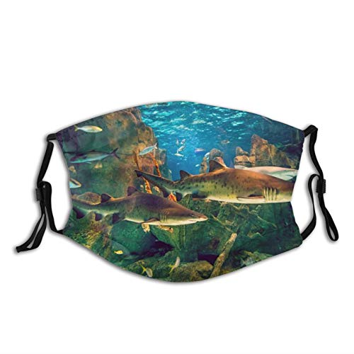 Aquarium Shark Unisex Face Mask with Adjustable Ear Loops, Reusable Washable Breathable Face Cover Cloth Bandanas Dust Protection for Outdoor Sports Black