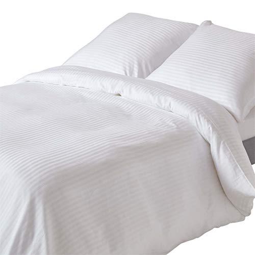 Homescapes Juego de cama de 2 piezas, funda nórdica de 155 x 200 cm y funda de almohada de 80 x 80 cm, 100% algodón egipcio con rayas de satén de 330 hilos, color blanco