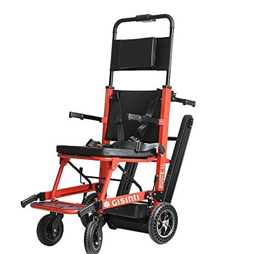 Gisinti Sedia Motorizzata Montascale, Montascale per disabili Elettrico, Sali Scendi scale Sedia a Rotelle per Scale Batteria Lunga Durata