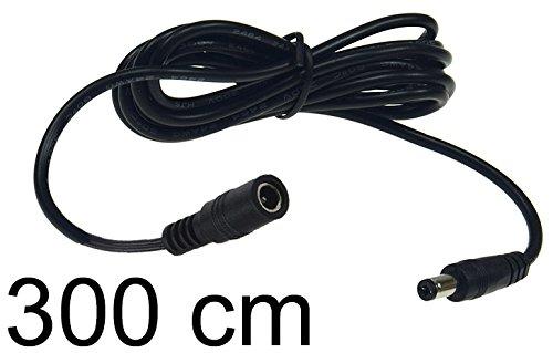 Verlängerungskabel für Netzteile 3m I 5,5mm / 2,1mm Stecker Netzteil Ladegerät Niedervolt universal einsetzbar für LED Stripe Reader Lampen Leuchten