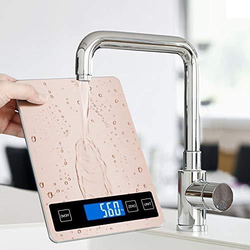 Bilancia da cucina digitale Jooheli, bilancia da cucina in acciaio inossidabile, bilancia elettronica da 15 kg / 1 g con ampia superficie di pesata in acciaio inossidabile e tara (Oro rosa)