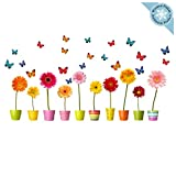 Flower Window Clings - 10 Individual Flowers in Pots Window Decals with 20 Butterflies - Adhesive Free Spring Decorations Window Stickers - Reusable Glass Door Sticker Decals