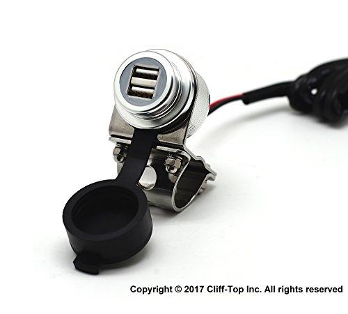 Cliff-Top Aluminium 4.6 Amp Motorrad USB Ladegerät für GPS, Sat Nav und Smartphone etc ...