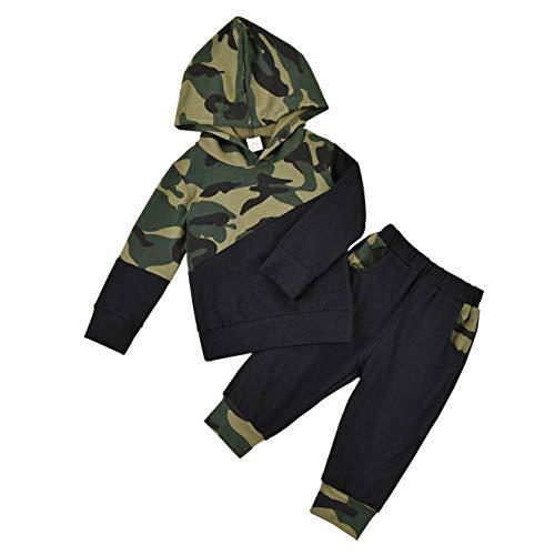 Sudadera de manga larga con capucha y pantalones de camuflaje para bebé, 2 piezas, para primavera y otoño camuflaje 18-24 Meses