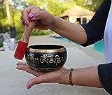 DharmaObjects Tibetan Meditation Om Mani Padme Hum Peace Singing Bowl With Mallet (Large, Black)