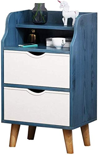 File cabinets Nachtschränken Nachttisch 2-Schublade Massivholzbeine Geräumige Arbeitsplatten Schlafzimmer Einfache Lagerschränke 35x29x62cm Schubläden (Color : C)