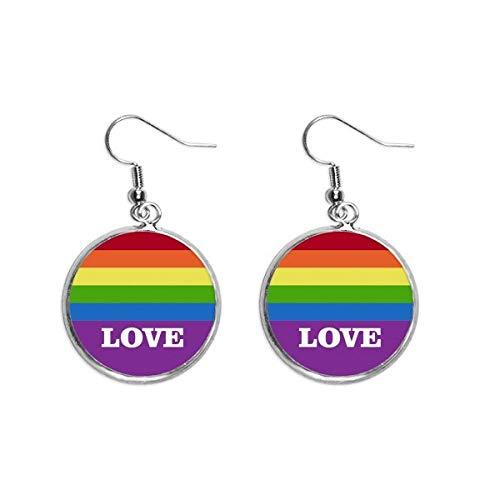 Liefde LGBT Regenboog Homo Oor Dangle Zilver Drop Oorbel Sieraden Vrouw