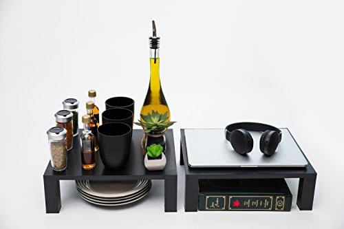 Sky Shelves Simply Shelves - 2 Pack Shelf Kit - Kitchen Counter, Cabinet & More Shelf (Black)