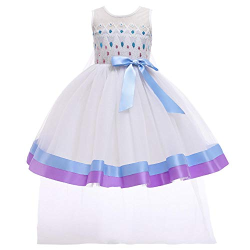 Anoauit Vestido para niñas de Flores con mantón, Vestido para niños Vestido para niños Sin Mangas Princesa Cumpleaños Carnaval Navidad Dama de Honor Boda Fiesta Baile de graduación-Blanco_150cm
