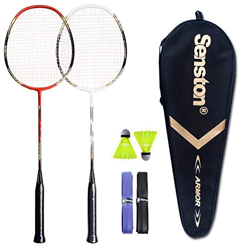 Senston - 2 Player Badminton Rackets Badminton Racquets Set with 2 Shuttlecocks - Including 2 Racket White Red