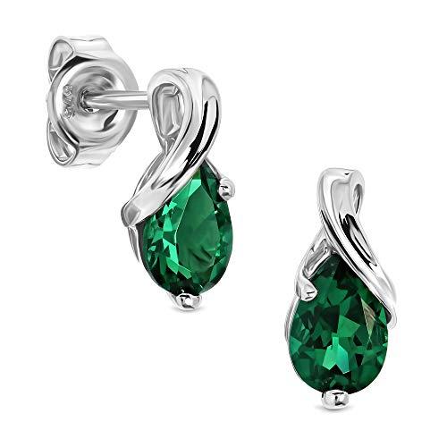 Miore Ohrringe Damen tropfen Ohrhänger mit Edelstein/Geburtsstein Smaragd in grün aus Weißgold 9 Karat / 375 Gold, Ohrschmuck