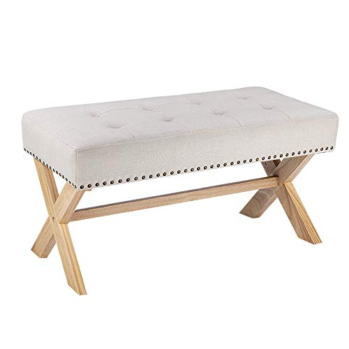 MorNon Bench Seat Beige Fabric Upholstered Bench Seat with X-Shaped Wood Legs for Bedroom Living Room Entryway Hallway or Foyer