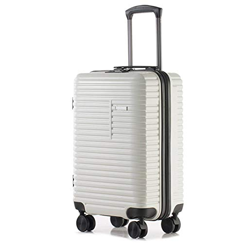 Vintage Luggage, Silent Spinner Wheels Suitcase Waterproof Scratch Resistant Durable with TSA Lock Spinner Trolley Case for Adults Bedroom Hotel Traveling-white-64cm