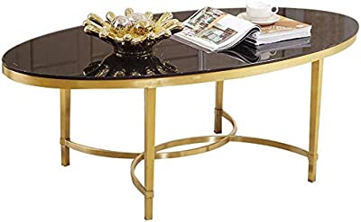 HTTXCJ Coffee Table Stylish and Simple Oval Stainless Steel Tempered Glass Coffee Table, Titanium Gold Frame, Suitable for Living Room Balcony X8C8J8