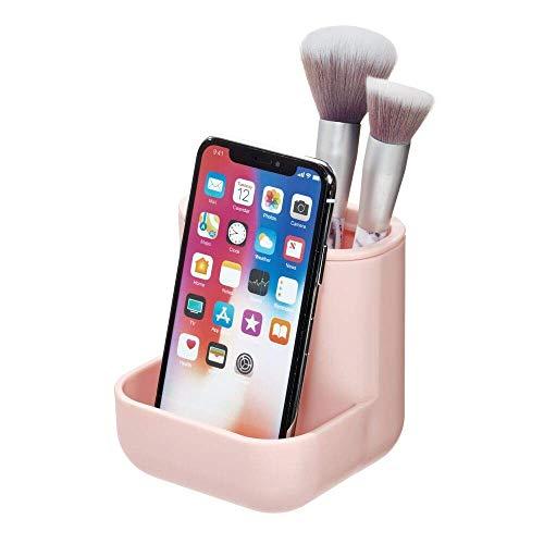iDesign Make-up Organizer, kompakter Kosmetik Organizer mit drei Fächern aus Kunststoff, Halter für Badaccessoires wie Schminke, Schmuck oder Zahnbürsten, rosa