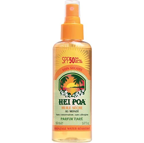 Hei Poa, Filtro solar corporal (Aceite Seco al Monoï, SPF 50) - 150 ml.