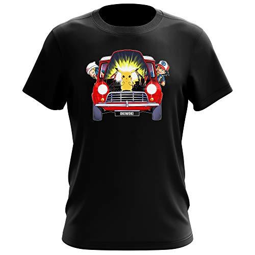 Okiwoki T-Shirt Homme Noir Parodie Pokémon - Pikachu, Sasha et Aurore - Pika dépannage (T-Shirt de qualité Premium de Taille L - imprimé en France)