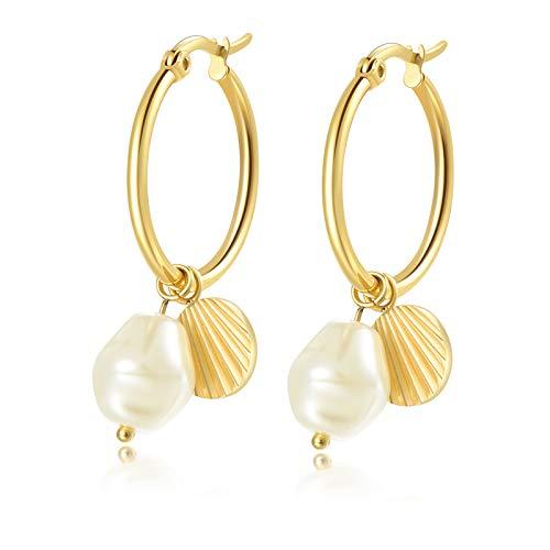 URBANHELDEN Schmuck Creole mit Muschel und Perle Damenohrringe Ohrringe für Damen gold, mit exklusiver Schmuckschachtel, tolle Geschenkideen für Frauen, Anhänger abnehmbar