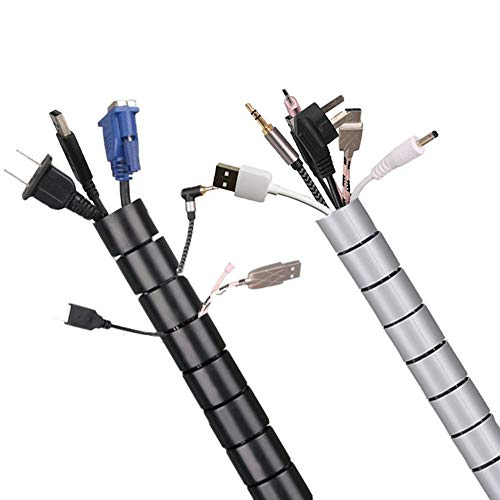 120 Inch Cable Sleeve, Flexible Cord Bundler Wire Wrap Cable Management System for Office and PC