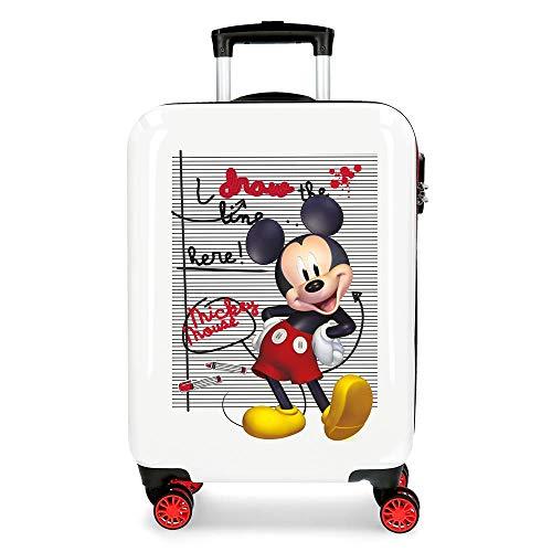 Disney Mickey Draw The Line Maleta de Cabina Rojo 38x55x20 cms Rígida ABS Cierre combinación 34L 2,6Kgs 4 Ruedas Dobles Equipaje de Mano