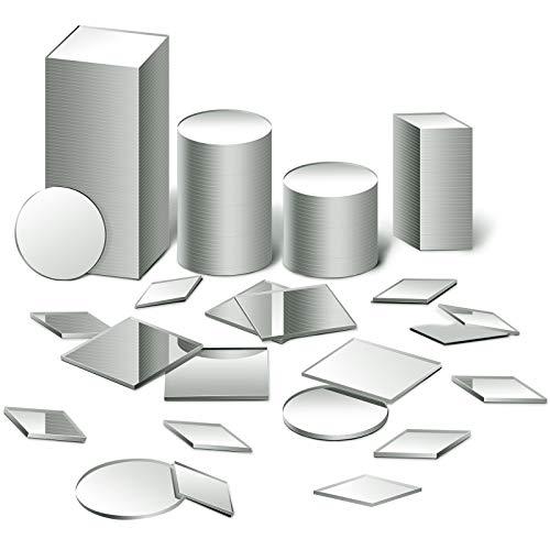 150 Pieces 3 Shapes Mirror Mosaic Tile Round Diamond Square Mini Mosaic Mirrors...