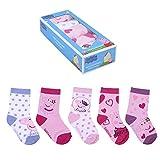 CERDÁ LIFE'S LITTLE MOMENTS 2200007756_T1718-C81 Pack de 5 Calcetines de Algodón de Peppa Pig para Niña con Licencia Oficial Disney, Multicolor, 17-18 para Niñas