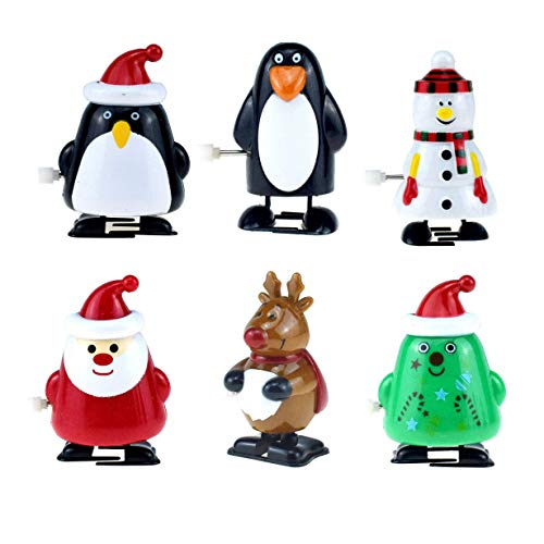 iPobie 6 Stücke Kinder Weihnachten Aufziehspielzeug Wind Up Pinguin Rentier Weihnachtsbaum Schneemann Weihnachtsmann Figur Uhrwerk Spielzeug