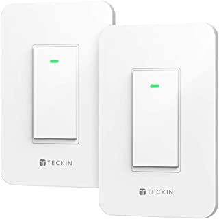 Smart Wi-Fi Light Switch Three-way TECKIN Smart Wall switch, Voice Control,Remote Control,Work with Alexa and Google home and IFTTT,Schedule and Timer,Easy Installation,No Hub Required
