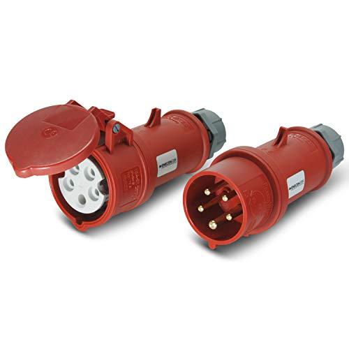 CEE Stecker & Kupplung Set 400V/16A 5p IP44 mit Phasenwender - Mennekes