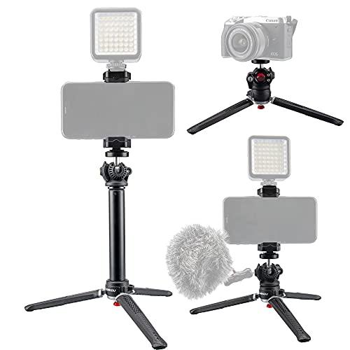 Lammcou 5in1 Handy Selfie Stativ, iPhone Mini Stativ & Erweiterbar Selfie Stick & Kugelneiger & Blitzschuh Stativhandyhalterung & Actioncam Adapter, Tragbar Wireless Mobile Selfie Tripod