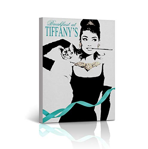 Audrey Hepburn Wall Art Breakfast at Tiffany's Illustration Blue Details Iconic Home Decor Canvas Print Wrapped and Stretched - Ready to Hang -%100 Handmade in The USA - 12x8