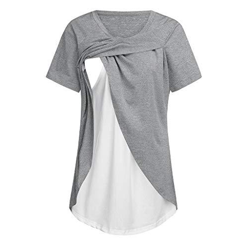 Umstandsmode Lagendesign Wickeln-Schicht Top Stillshirt Patchwork T-Shirt Umstandsmode Oberteile Mutterschafts Umstands-Top Sommer Bluse Tops Umstandsshirt Kurzarm T-Shirt