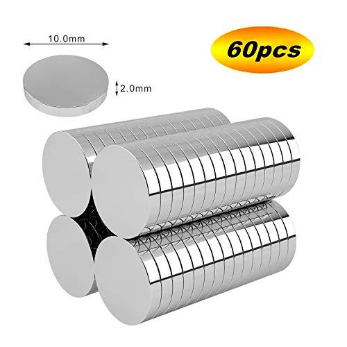 磁石 超強力 ネオジウム磁石 マグネット 10*2mm 60個セット 丸型 冷蔵庫 オフィス 学校 事務所 科学 工芸に最適