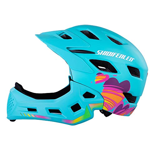 NBZH Kinderfahrrad-Helm-C-Maniac-Helm Kinder BMX Cycle Helm Motocross Helm Mountainbike Vollkörper-Helm Skateboard-Helm,Green