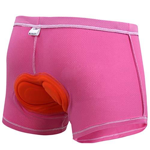 perfeclan Pantalones Cortos de Ciclismo Acolchados de Secado Rápido Ropa Interior Negro Rosa Calzoncillos de Bicicleta Calzoncillos para Mujeres Hombres - Rosa, XL