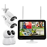 XMARTO 12.1-inch Screen Wireless Security Camera System AC Powered (8CH 5MP HD Screen NVR, 2K HD 2X Auto-Track Indoor PTZ Cameras and 2X Outdoor Security Camera with Audio, Cloud Storage, NO HDD)