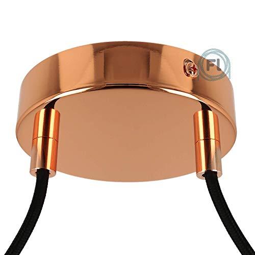 Flairlux All-in-One Baldachin für Lampe 2 Loch Metall kupfer rund 120x25mm inkl Wago Klemmen, Klemmnippel zylindrisch