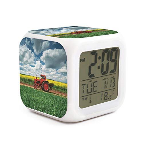JECIA HOLDER Red Tractor in Field Led Alarm Clock Creative Desk Table Clock Multipurpose Calendar Snooze Glowing Led Digital Alarm Clock for Unisex Adults Kids Toy Gift