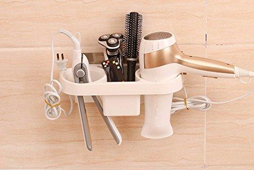 Potentes ventosas racks secadora de pelo libre perforación silenciadores estantes baño estantes ganchos de pared de almacenamiento de información de aseo