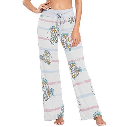 Pantalones de Pijama para Mujer Pantalones de Dormir Pantalones Largos atléticos de Pierna Ancha Ratones Patrón sin Costuras