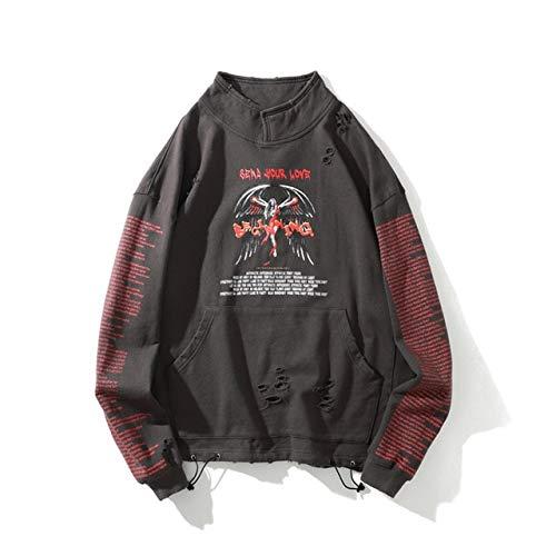 Sudadera con capucha para hombre de tamaño grande con diseño de letras y agujeros para hombre (color: gris, talla: XL)
