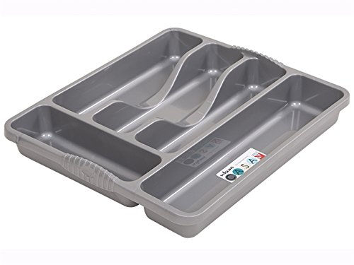 Wham Silver 5 Compartment Plastic Cutlery Holder Tray Drawer Organiser Rack