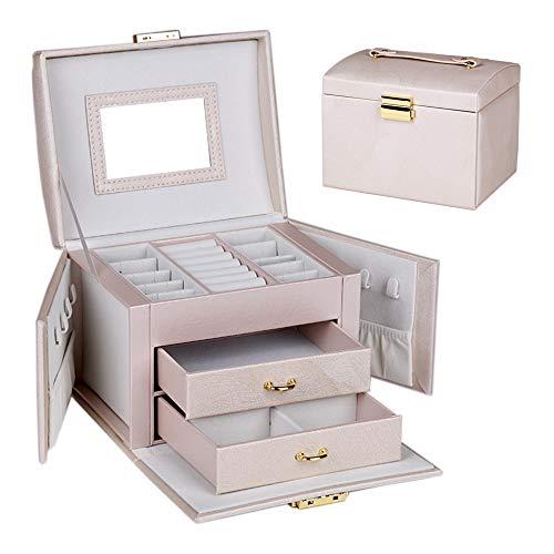 Aomier - Cajonera de piel sintética para joyas de alta capacidad y 2 cajones para pulseras, pendientes, anillos, collares, regalo de cumpleaños de boda