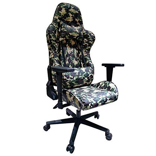 HUAXUE Professioneller Gaming-Stuhl, Gaming Stuhl Spielstuhl Ergonomisch Schreibtischstuhl mit Lendenwirbelstütze Kopfstütze Armlehne Fußstütze for Erwachsene (Farbe: grün) (Color : Green)