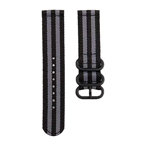 Correa de lona de nylon para MI Huami 3 2 2S / PACE/Banda de reloj de 47 mm para ver GT GT2 46mm correas *4* (Band Color : Black grey, Band Width : For GTR 47)