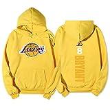 OBTAIN Sudadera con Capucha de Baloncesto, Bryant # 8, Lakers Primavera, otoño e Invierno con Capucha de Baloncesto suéter Plus Hombres de la Cachemira con Capucha Imprimir Yellow-S