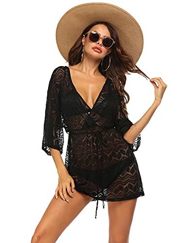 Hotouch Beach Kleid Damen Sexy Spitze Mode Große Größen Badeanzug Freizeitkleid Schwarz XXL
