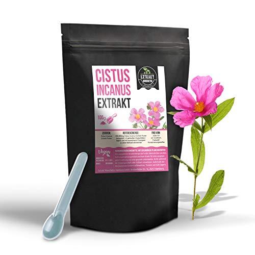 Cistus Incanus EXTRAKT | 40% Polyphenole | 100g PULVER | Zistrose ohne Zusatzstoffe und laborgeprüft | extract powder | hochdosiert vegan & in Deutschland abgefüllt (Pulver 100g)